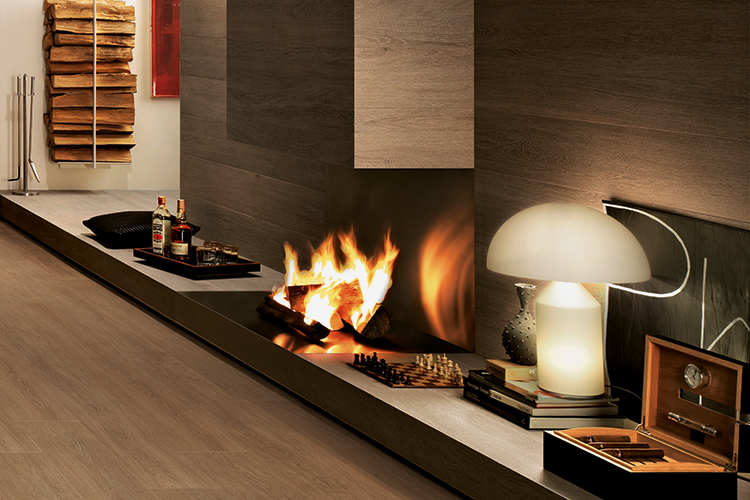 A lit fireplace and the warmth of crackling flames for winter